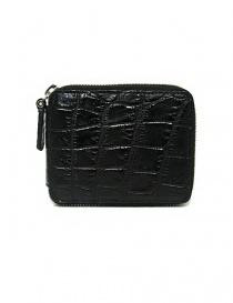 Portafoglio con zip Tardini in pelle di alligatore cerata colore nero online