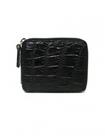 Tardini black waxed alligator leather zippered wallet online