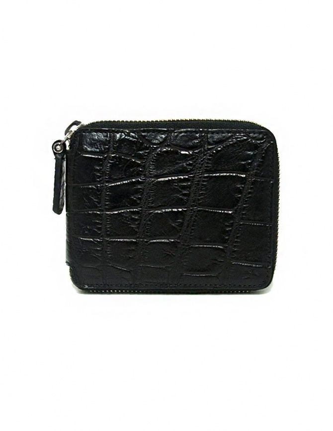 Tardini black waxed alligator leather zippered wallet A6P246-16-01-PORTAFO wallets online shopping