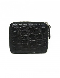 Tardini black waxed alligator leather zippered wallet buy online