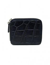 Portafoglio con zip Tardini in pelle di alligatore cerata colore blu baltico online