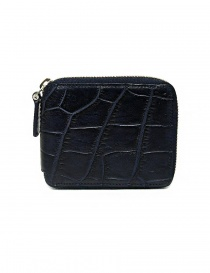 Tardini baltic blue waxed alligator leather zippered wallet A6P246-16-256-PORTAF