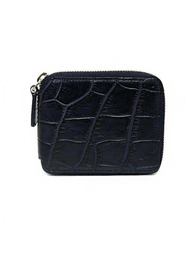 Portafoglio con zip Tardini in pelle di alligatore cerata colore blu baltico A6P246-16-256-PORTAF portafogli online shopping