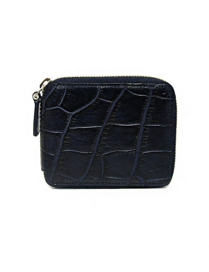 Tardini baltic blue waxed alligator leather zippered wallet A6P246-16-256-PORTAF wallets online shopping