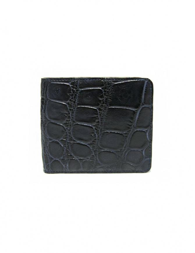 Portafoglio Tardini in pelle di alligatore cerata colore blu baltico A6P242-16-256-PORTAF portafogli online shopping