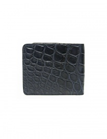 Tardini baltic blue waxed alligator leather wallet