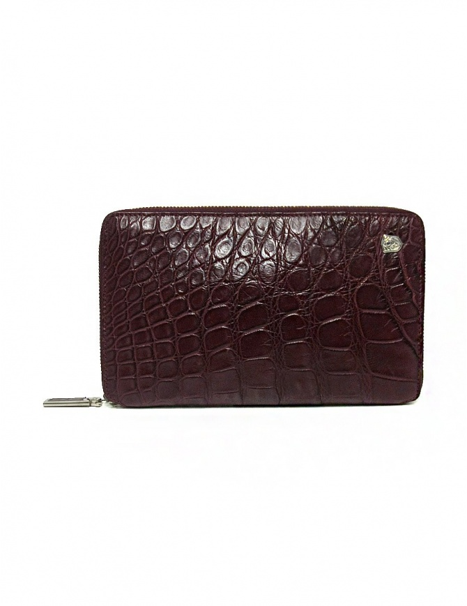 Tardini burgundy red satin alligator leather travel wallet A6P253-25-2404-P-DOC wallets online shopping