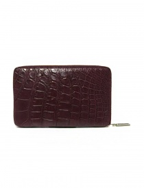 Tardini burgundy red satin alligator leather travel wallet price