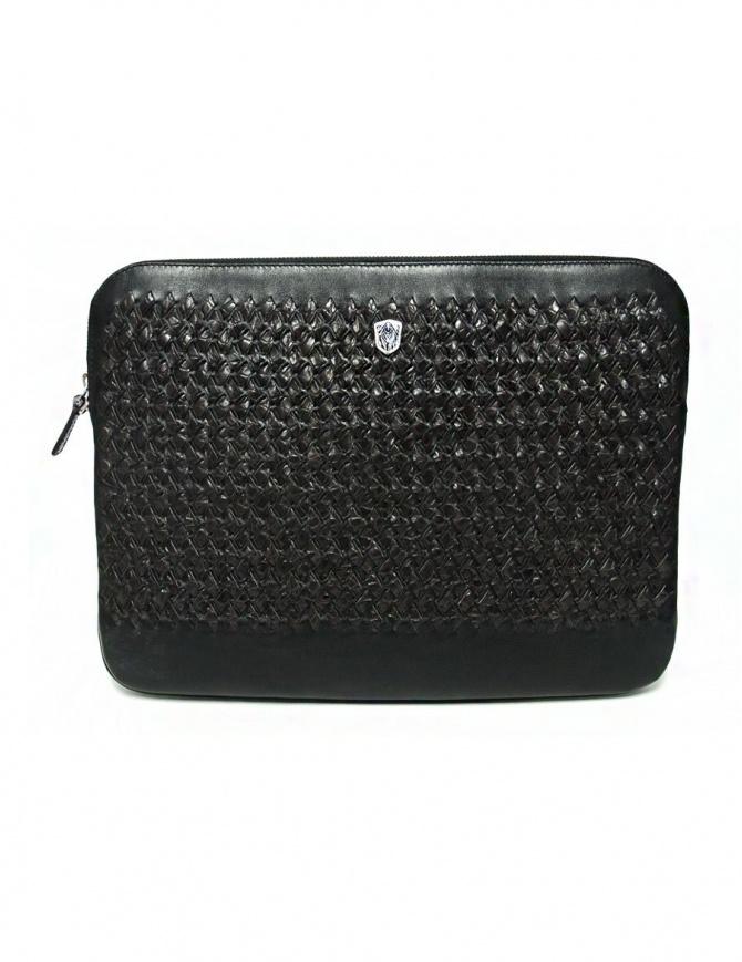 Borsello sottobraccio Tardini in pelle di alligatore intrecciata colore marrone e nero A6T253-31-02BL-SOTTO borse online shopping