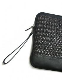 Borsello sottobraccio Tardini in pelle di alligatore intrecciata colore marrone e nero borse acquista online