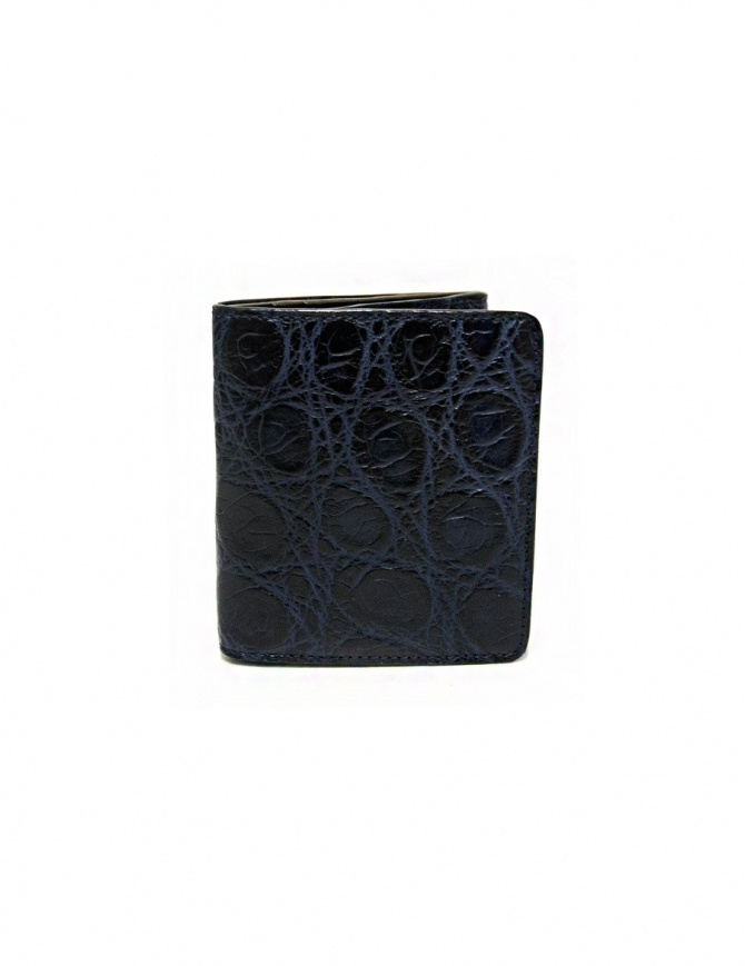 Tardini baltic blue waxed alligator leather card-holder A6P223-16-256-P-CART
