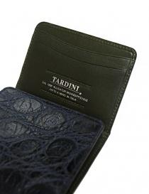 Portacarte Tardini in pelle di alligatore cerata colore blu baltico prezzo