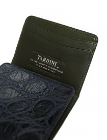 Tardini baltic blue waxed alligator leather card-holder price