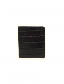 Tardini brown waxed alligator leather card-holder online