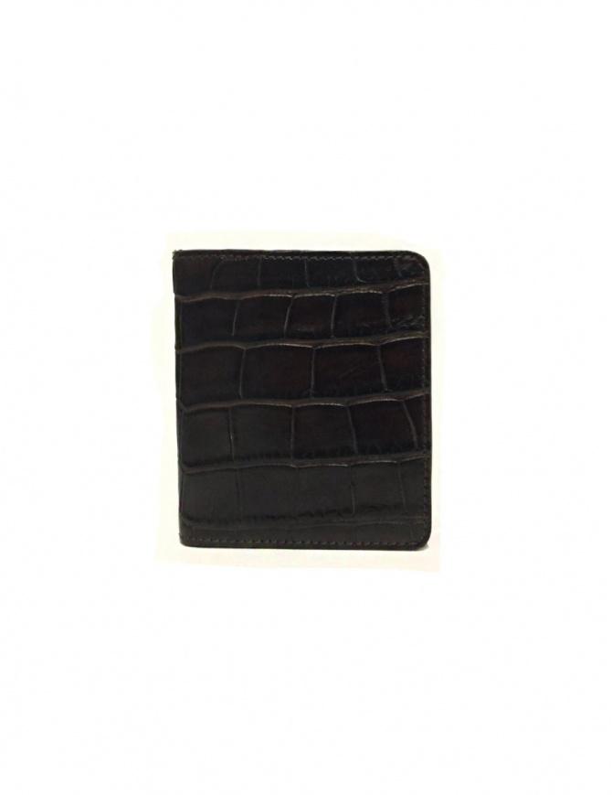 Portacarte Tardini in pelle di alligatore cerata colore marrone A6P223-16-02-P-CARTE portafogli online shopping