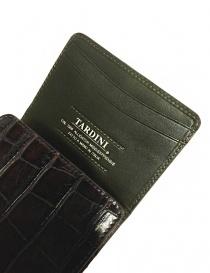 Tardini brown waxed alligator leather card-holder price