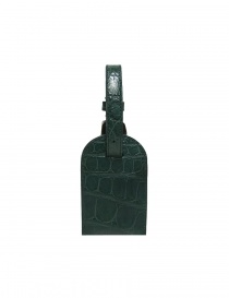 Tardini green satin alligator leather luggage tag