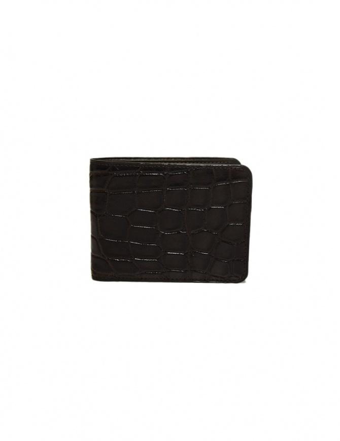 Portafoglio piccolo Tardini in pelle di alligatore cerata colore marrone A6P239-16-02-PORTAFO portafogli online shopping