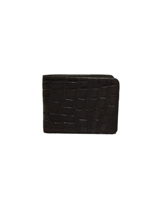 Tardini brown waxed alligator leather small wallet A6P239-16-02-PORTAFO wallets online shopping