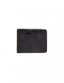 Tardini baltic blue waxed alligator leather small wallet online