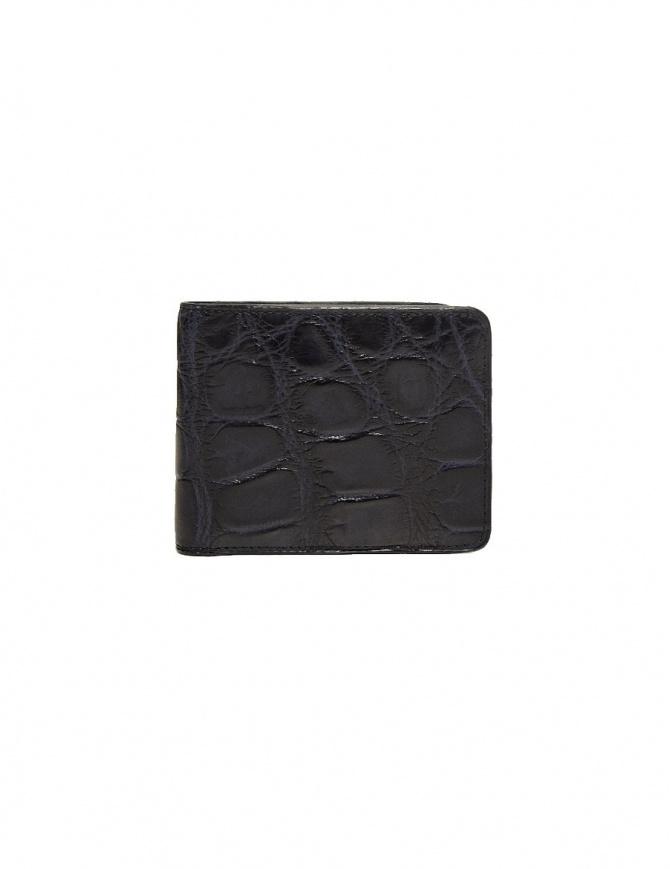 Portafoglio piccolo Tardini in pelle di alligatore cerata colore blu baltico A6P239-16-256-PORTAF portafogli online shopping