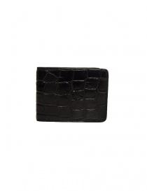 Portafoglio piccolo Tardini in pelle di alligatore cerata colore nero A6P239-16-01-PORTAF order online
