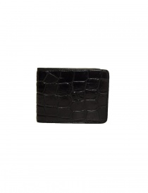 Wallets online: Tardini black waxed alligator leather small wallet