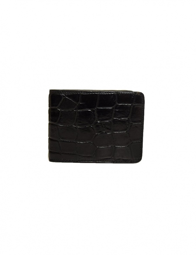 Tardini black waxed alligator leather small wallet A6P239-16-01-PORTAF wallets online shopping