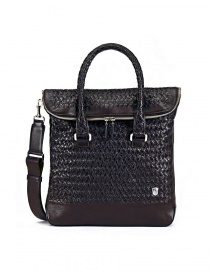 Borsa Tardini in pelle di alligatore intrecciata colore marrone e nero A6T258-02BL-BORSA order online