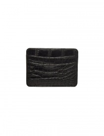 Tardini black waxed alligator leather cards-holder A6P011-16-01-P-CARTE