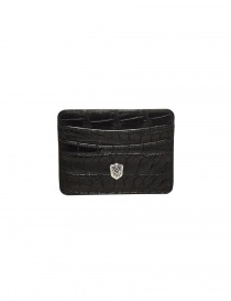 Wallets online: Tardini black waxed alligator leather cards-holder