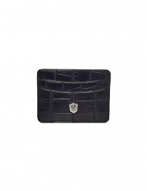 Tardini baltic blue waxed alligator leather cards-holder online