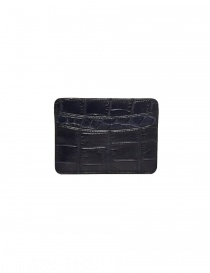 Tardini baltic blue waxed alligator leather cards-holder buy online
