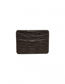 Tardini brown waxed alligator leather cards-holder buy online