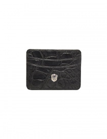 Wallets online: Tardini anthracite waxed alligator leather cards-holder
