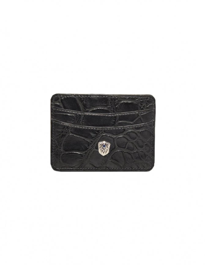 Tardini anthracite waxed alligator leather cards-holder A6P011-16-19-P-CARTE wallets online shopping