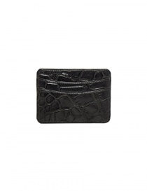 Tardini anthracite waxed alligator leather cards-holder buy online