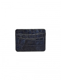 Tardini Capri blue waxed alligator leather cards-holder