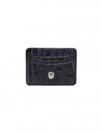 Wallets online: Tardini Capri blue waxed alligator leather cards-holder