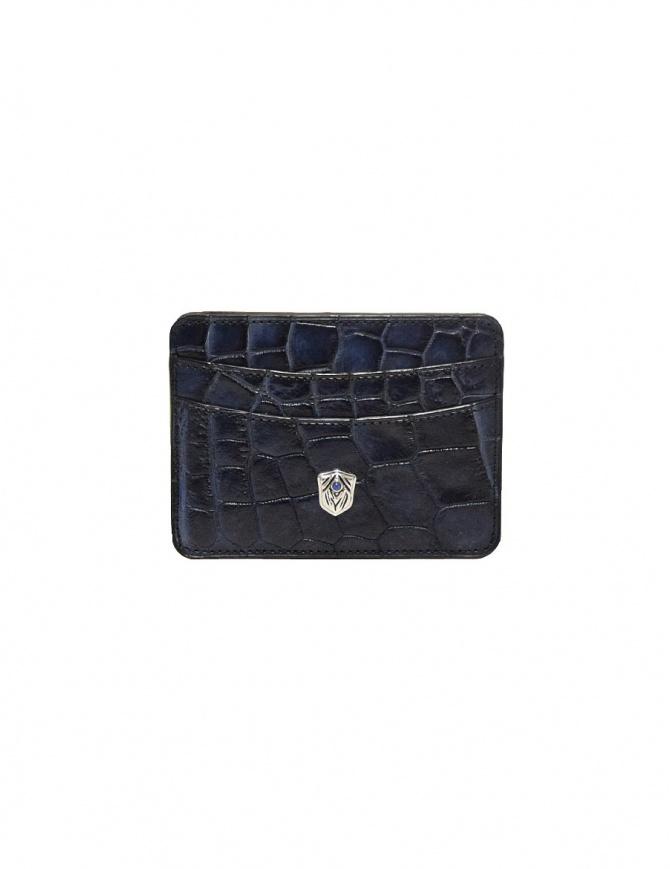Portatessere Tardini in pelle di alligatore cerata colore blu Capri A6P011-16-489-P-CARTE portafogli online shopping