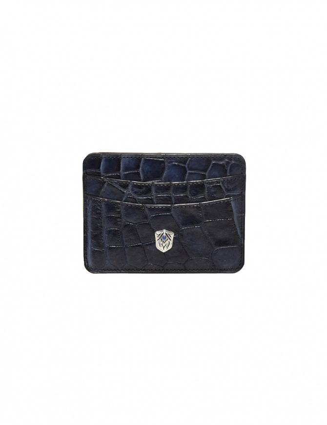 Tardini Capri blue waxed alligator leather cards-holder A6P011-16-489-P-CARTE wallets online shopping
