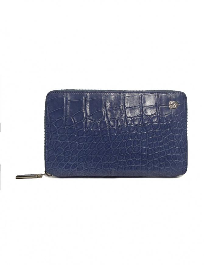 Tardini delavé blue satin alligator leather travel wallet A6P253-25-280-P-DOCU wallets online shopping