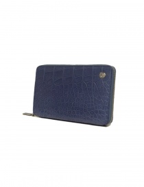 Tardini delavé blue satin alligator leather travel wallet buy online
