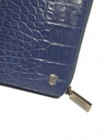 Portafoglio da viaggio Tardini in alligatore satinato colore blu delavé portafogli prezzo