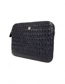 Tardini woven alligator leather blue flag underarm bag