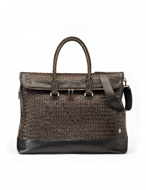 Tardini woven alligator leather brown black large bag A6T260-31-SACCA-MARR order online