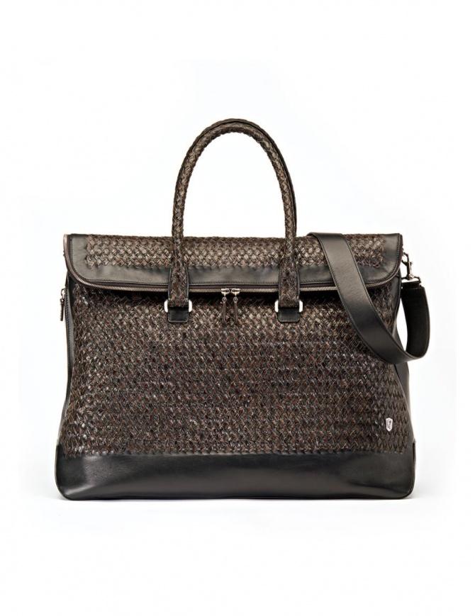 Borsone Tardini in pelle di alligatore intrecciata colore marrone nero A6T260-31-SACCA-MARR borse online shopping
