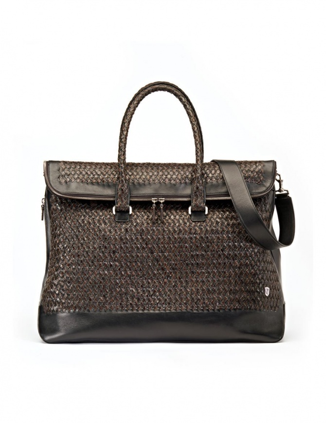 Tardini woven alligator leather brown black large bag A6T260-31-SACCA-MARR bags online shopping