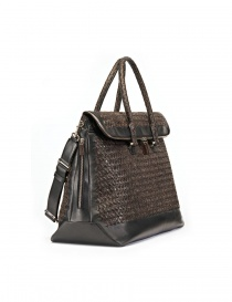 Tardini woven alligator leather brown black large bag