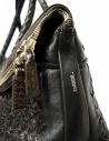 Borsone Tardini in pelle di alligatore intrecciata colore marrone nero prezzo A6T260-31-SACCA-MARRshop online